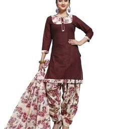 Buy Brown digital print cotton salwar with dupatta dress-material online