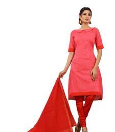 Buy Red digital print cotton salwar with dupatta dress-material online