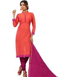 Buy Orange digital print cotton salwar with dupatta dress-material online