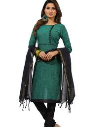 Buy Green digital print cotton salwar with dupatta dress-material online