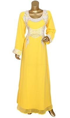 Yellow Embroidered Crystal & Beads Embellished Traditional Chiffon kaftan