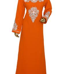 Orange Embroidered Crystal & Beads Embellished Traditional Chiffon kaftan