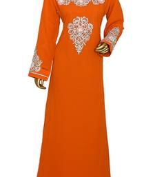 Orange Embroidered Crystal & Beads Embellished Traditional Chiffon kaftan