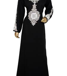 Black Embroidered Crystals & Beads Embellished Traditional Chiffon kaftan