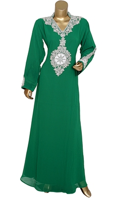 Green Embroidered Crystals & Beads Embellished Traditional Chiffon kaftan