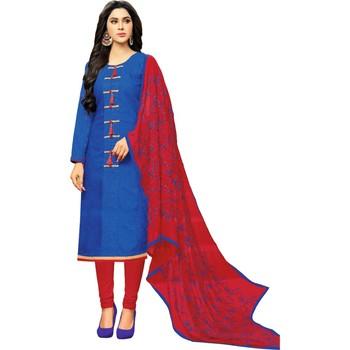 Royal-blue embroidered jacquard salwar