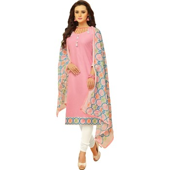 Light-pink embroidered cotton salwar with dupatta