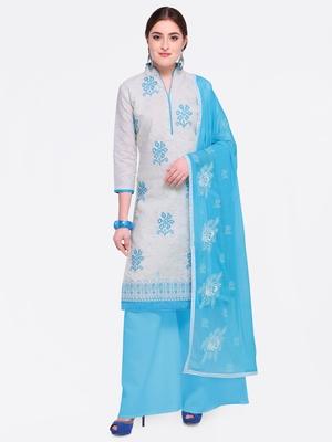 White embroidered cotton salwar with dupatta
