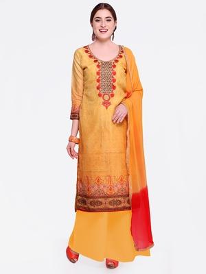 Yellow embroidered chanderi salwar with dupatta