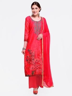 Pink embroidered chanderi salwar with dupatta