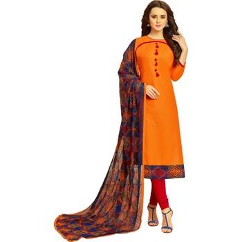 Orange embroidered cotton salwar with dupatta