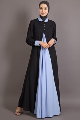 black and sky blue poly_crepe plain islamic abaya