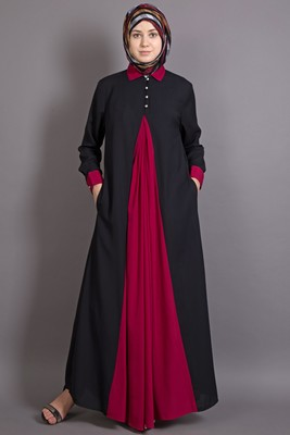 Black And Maroon Poly Crepe Plain Islamic Abaya
