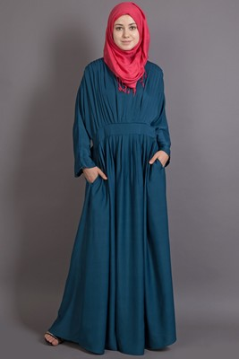 Teal Poly Crepe Plain Islamic Abaya