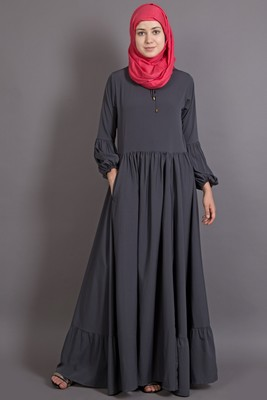 Grey Poly Crepe Plain Islamic Abaya