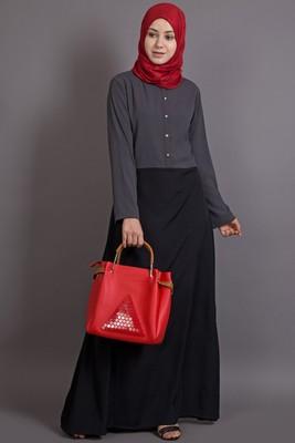 grey poly_crepe plain islamic abaya