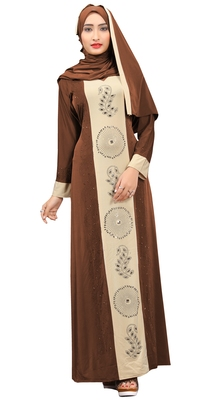 Brown color party wear stone work abaya burkha with lycra hijab