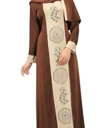 Brown color party wear stone work abaya burkha with lycra hijab