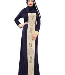 Blue color stylish party wear stone work abaya burkha with lycra hijab/scarf