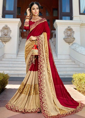 Red brasso georgette saree with blouse