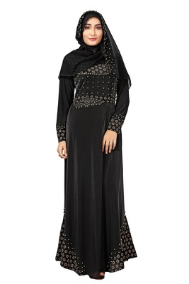 Black color velvet embossed abaya burka with belt and chiffon hijab