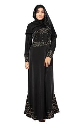 Black Color Velvet Embossed Abaya Burka With Belt And Chiffon Hijab