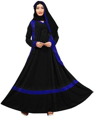 Black and navy blue color stone work abaya burkha with chiffon hijab