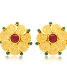 Buy Gorgeous Gold Plated Temple Jewellery Coin Earring for Women stud online