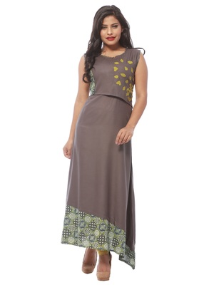 Grey plain cotton kurti