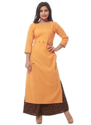 Orange plain cotton kurti