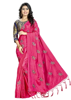 Tomato color embroidered  saree with blouse