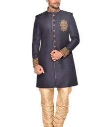 Grey Jute Wedding Sherwani