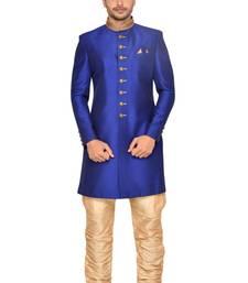 Royal Blue Art Silk Wedding Sherwani Indo Western