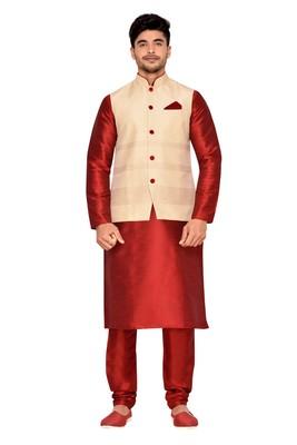 Cream Jacket Jharna Silk Kurta Pajama