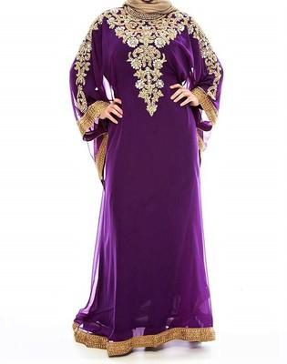 purple georgette Islamic farasha with zari and stone work