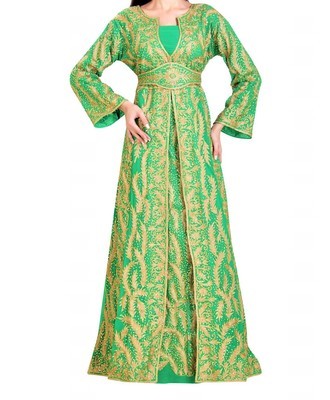 sea green georgette Islamic kaftan with zari and stone work