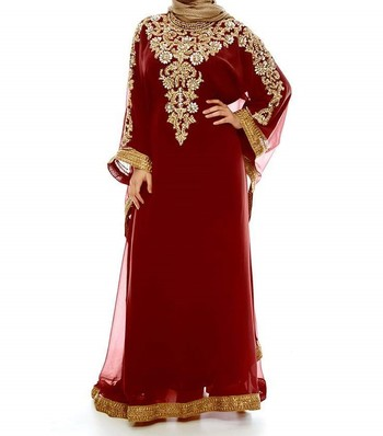 red georgette Islamic farasha with zari and stone work