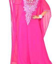 pink georgette Islamic farasha with zari and stone work