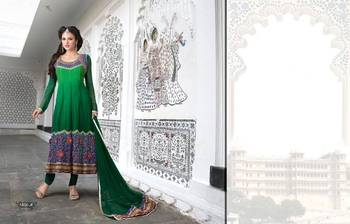Bottle Green  Georgette Designer Ready made anarkali