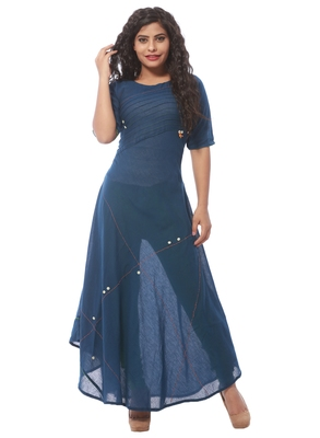 Blue plain cotton silk kurti