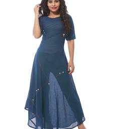 Blue plain cotton silk kurti