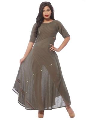Grey plain cotton silk kurti
