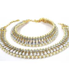 Golden pear shape kundan pearl anklet
