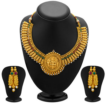 Designer Gold Plated Temple Jewellery Necklace Set for Women