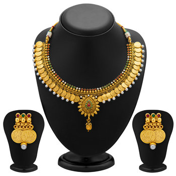 Eye-Catchy Gold Plated Temple Jewellery Coin Necklace Set for Women