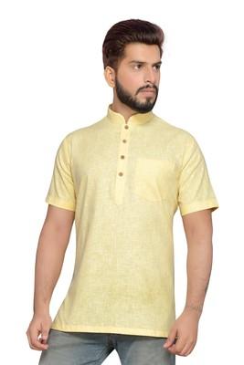 Yellow Cotton Men Kurtas