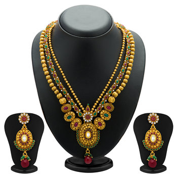 Fancy Gold Plated Three String Necklace Set for Women