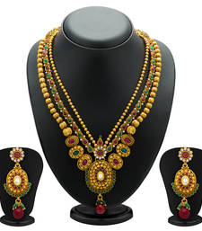 Buy Fancy Gold Plated Three String Necklace Set for Women necklace-set online