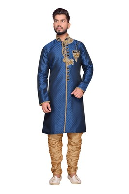 Navy blue brocket indo western dresses