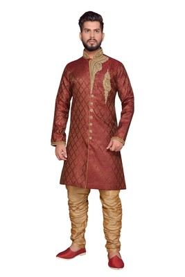 Maroon brocket indo western dresses
